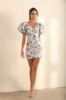 Puff Shoulder Floral Embroidered Mini Dress In Blue - Miss Floral