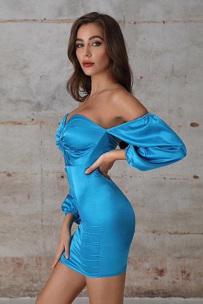 Puff Sleeve Satin Bardot Bodycon Dress In Blue - Miss Floral