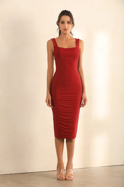 Zip Back Ruched Bodycon Bandage Midi Dress In Red - Miss Floral
