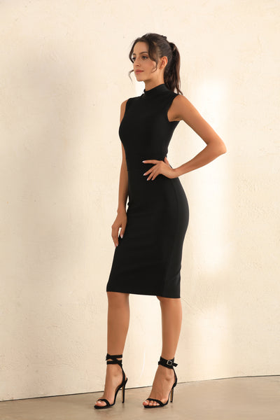 Turtle Neck Bodycon Bandage Midi Dress In Black - Miss Floral