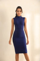 Turtle Neck Bodycon Bandage Midi Dress In Blue - Miss Floral