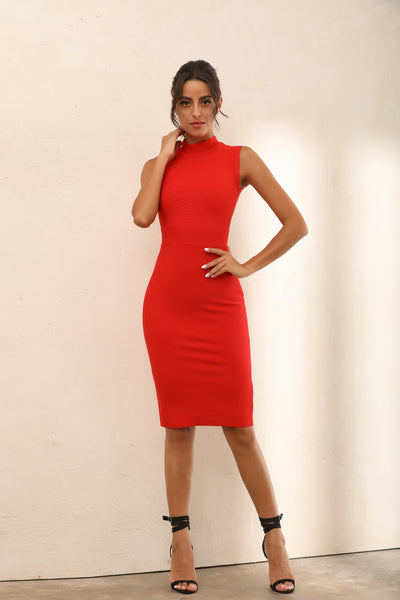 Turtle Neck Bodycon Bandage Midi Dress In Red - Miss Floral