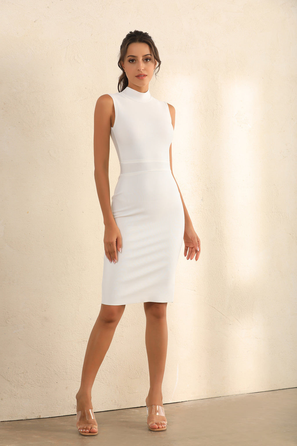 Turtle Neck Bodycon Bandage Midi Dress In White - Miss Floral
