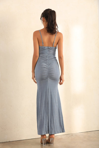 Ruched Split Cami Maxi Dress In Grey - Miss Floral