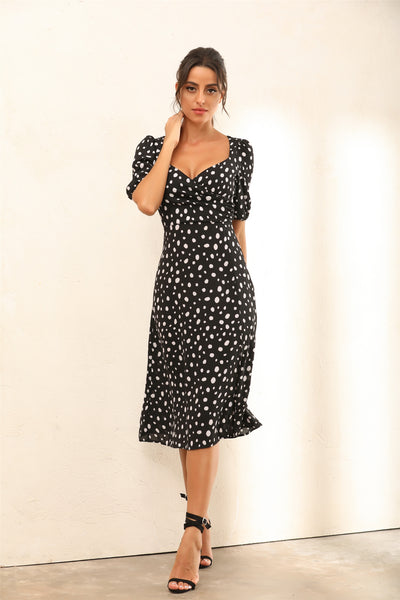 Dalmatian Spot Print Puff Shoulder Split Midi Dress - Miss Floral