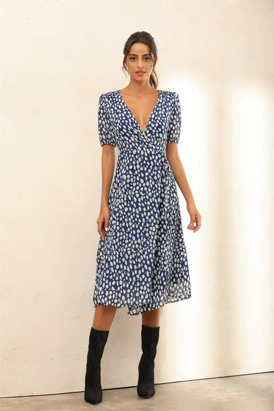 Dalmatian Spot Print Midi Wrap Dress In Navy - Miss Floral