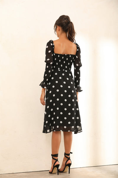 Polka Dot Long Sleeves Split Midi Dress In Black - Miss Floral