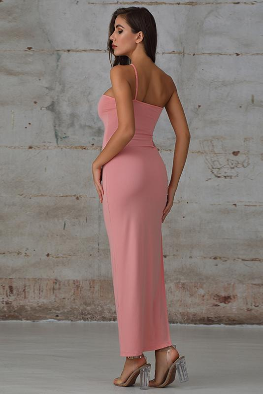 Pink Ruched Split Thigh Maxi Dress with Lace Insert - Miss Floral