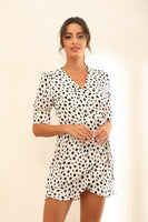 Dalmatian Spot Print Frill Wrap Mini Dress In White - Miss Floral