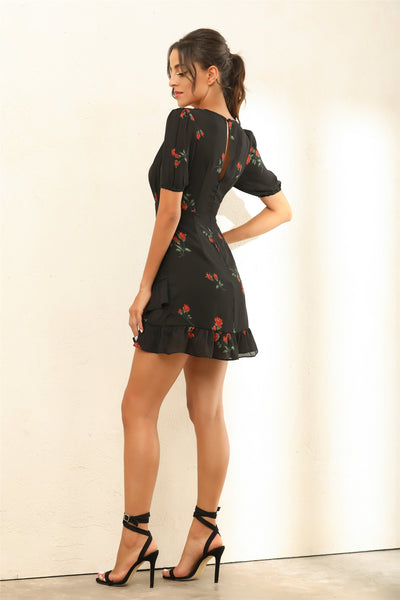 Floral Print Frill Mini Dress In Black - Miss Floral