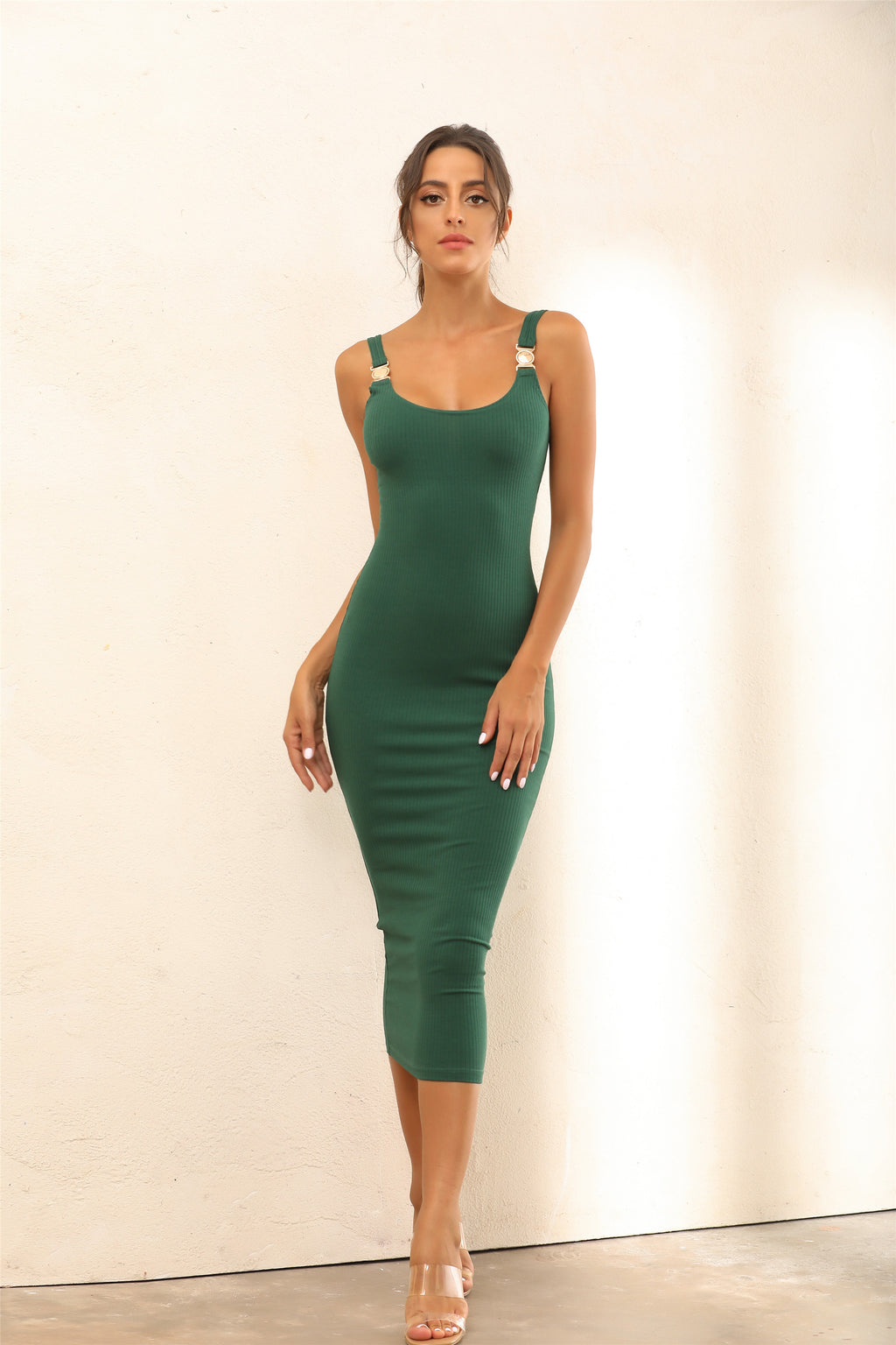 Criss Gold Detail Straps Ribbed Bodycon Midi Dress In Green - Miss Floral