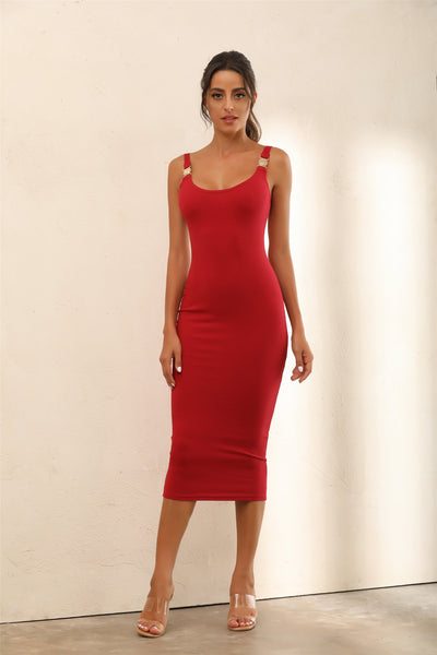 Criss Gold Detail Straps Ribbed Bodycon Midi Dress In Red - Miss Floral