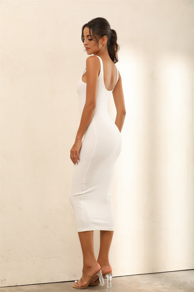 Criss Gold Detail Straps Ribbed Bodycon Midi Dress In White - Miss Floral