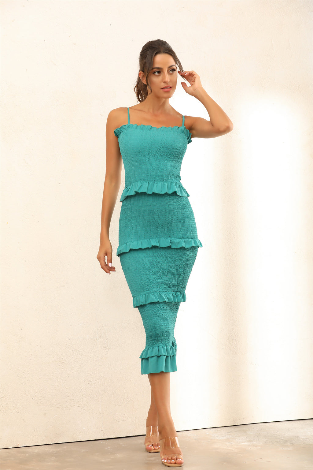 Ruffle Trim Shirred Bodycon Midi Dress In Teal - Miss Floral
