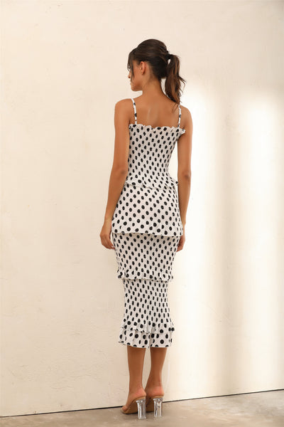 Polka Dot Ruffle Trim Shirred Bodycon Midi Dress In White - Miss Floral