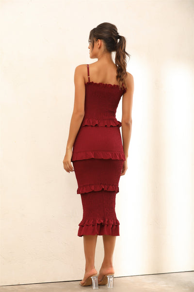 Ruffle Trim Shirred Bodycon Midi Dress In Wine Red - Miss Floral