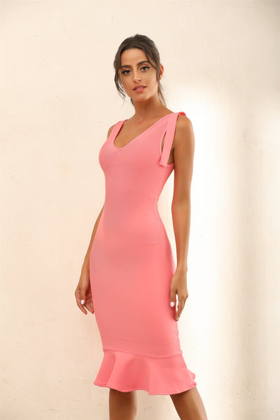 Draped Detail Mermaid Bodycon Bandage Midi Dress In Pink - Miss Floral