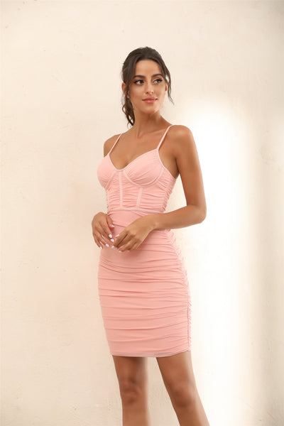 Ruched Mesh Bustier Bandage Bodycon Mini Dress In Pink - Miss Floral