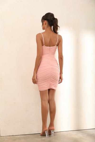 Ruched Mesh Bustier Bandage Bodycon Mini Dress In Pink