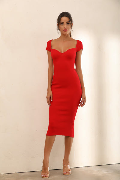 Cap Sleeve Bodycon Knitted Midi Dress In Red