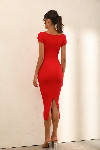 Cap Sleeve Bodycon Knitted Midi Dress In Red - Miss Floral