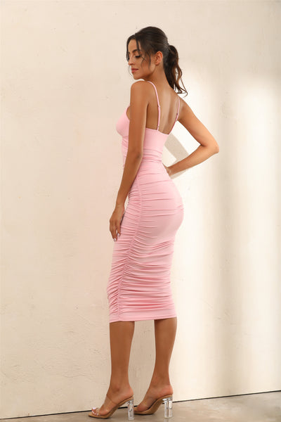Twist Front Bust Ruched Bodycon Midi Dress In Pink