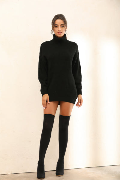 Roll Neck Knitted Jumper | Mini Dress In Black - Miss Floral