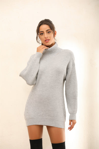 Roll Neck Knitted Jumper | Mini Dress In Grey