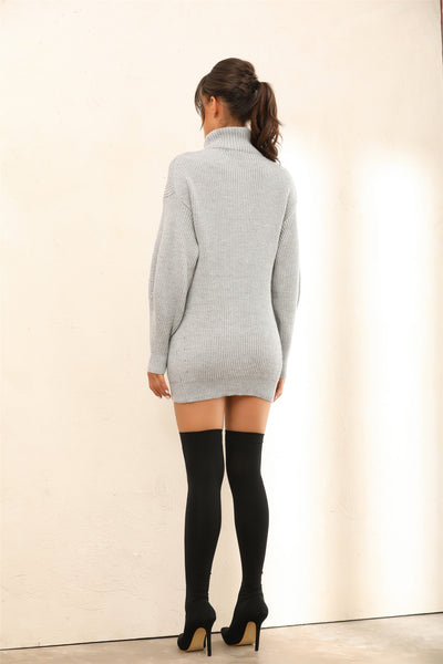 Roll Neck Knitted Jumper | Mini Dress In Grey - Miss Floral