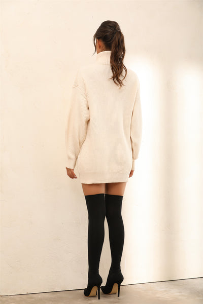 Roll Neck Knitted Jumper | Mini Dress In Nude - Miss Floral