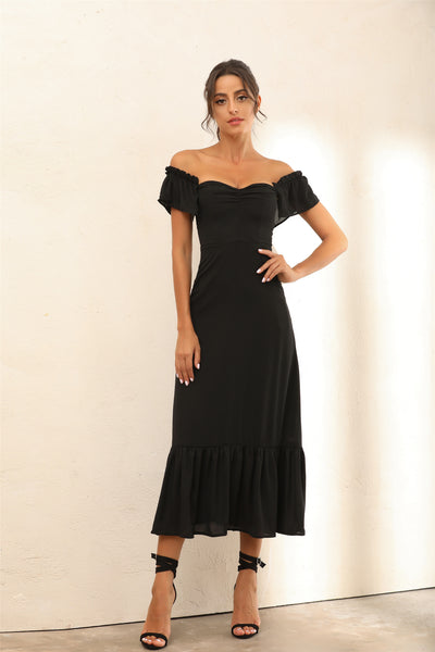 Off Shoulder Bardot Ruffle Hem Midi Dress In Black - Miss Floral