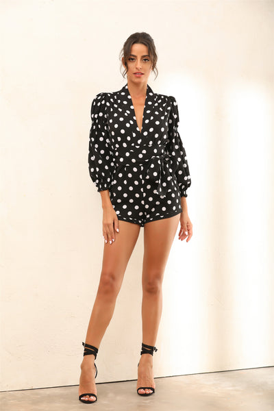 Long Sleeve Plunge Polka Dot Playsuit In Black - Miss Floral