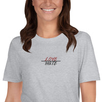 Women's Embroidered Love Over Hate Tee