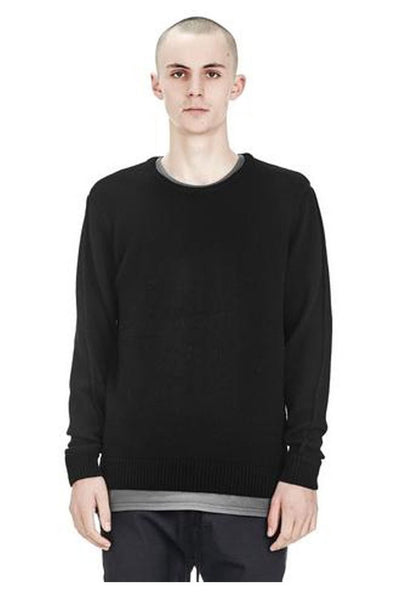 MERINO CREW KNIT SWEATER BLACK