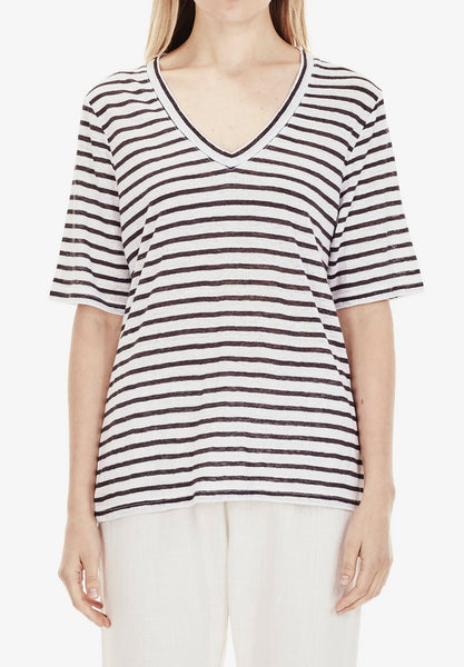 LUXE LINEN V-NECK T-SHIRT STRIPE
