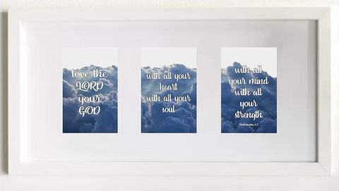 "Pictures of Deuteronomy 6:5 Bible Verse in White 21""x 10"" Frame"
