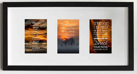 "Proverbs 3:5-6, James 4:6 and Matthew 23:12 pictures in black 21"" x 10"" frame - thewrittenword"