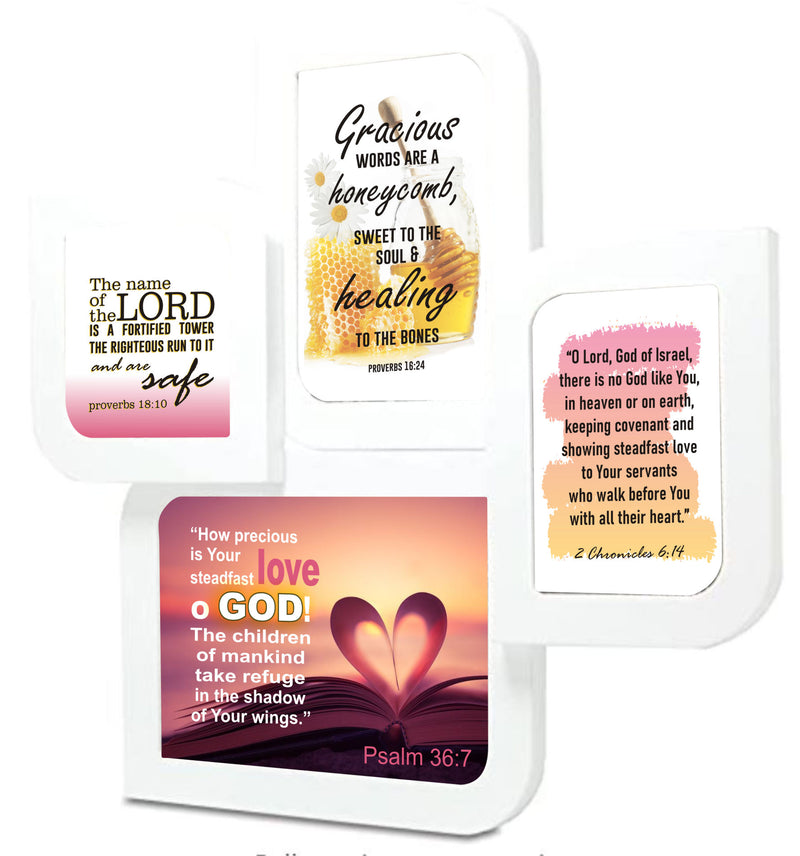 Psalm 36:7, Proverbs 18:10,  2 Chronicles 6:14 and Proverbs 16:24 pictures on white leaf shaped wall frame
