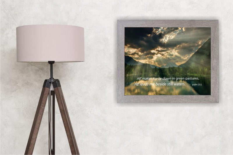 Psalm 23:2 - He makes me lie down in green pastures. He leads me beside still waters. Picture frame