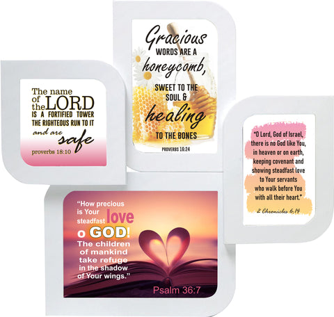 Psalm 36:7, John 14:21 and 2 Chronicles 6:14 pictures on white leaf shaped wall frame - thewrittenword