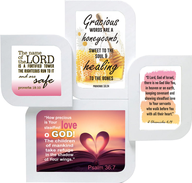 Psalm 36:7, John 14:21 and 2 Chronicles 6:14 pictures on white leaf shaped wall frame.