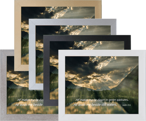 "Psalm 23:2  Picture in  10"" x 12"" Colored Frames"