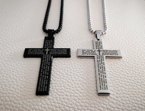LORD's Prayer Cross stainless steel black necklace