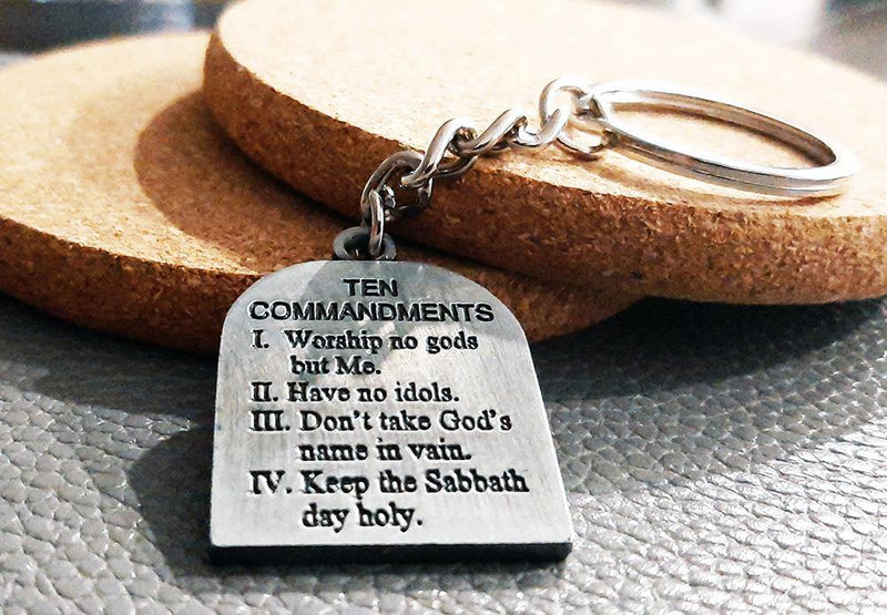 The Ten Commandments engraved key ring
