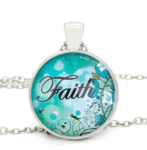 Faith Round Pendant Necklace - thewrittenword