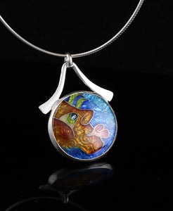 One of the Guys, Cloisonné Enamel Pendant, circle pendant with dangle bail
