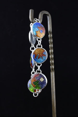 Abstract Cloisonné Enamel Bracelet with lobster clasp, 7 inches