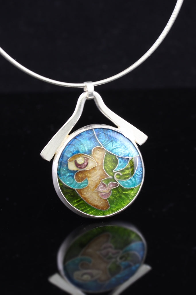 Ersela, Cloisonné Enamel Pendant, circle pendant with dangle bail
