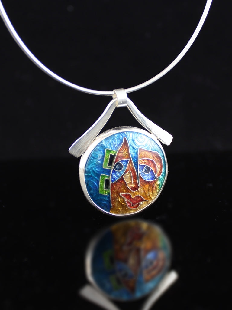 Gizmo, Cloisonné Enamel Pendant, circle with dangle bail