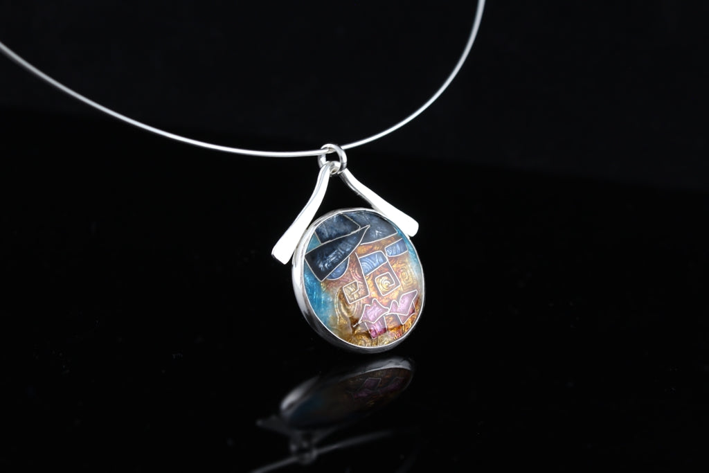 Jazz Night, Cloisonné Enamel Pendant, circle pendant with dangle bail